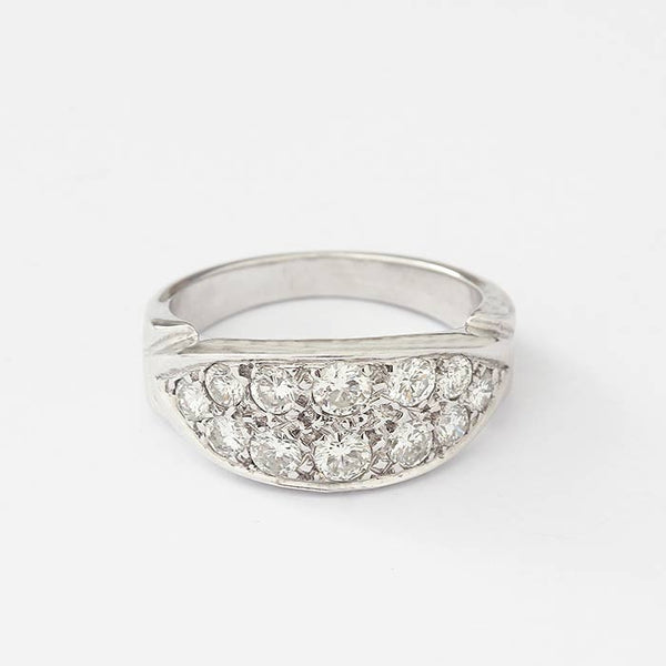 a beautiful white gold 2 row diamond set ring in a graduated design with claw settings