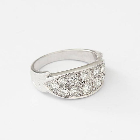 a boat shaped diamond graduated 2 row ring in white gold dated and hallmarked for london 2001