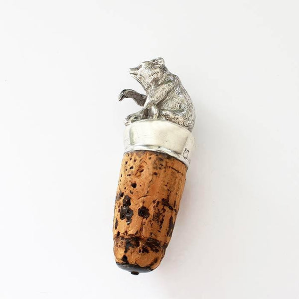 antique silver bear design bottle stopper with cork and cap dated london 1889
