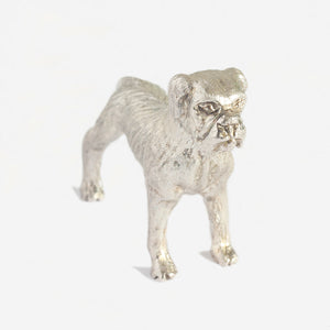 a sterling silver heavy boxer dog figure