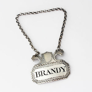 silver decanter label brandy georgian 1795