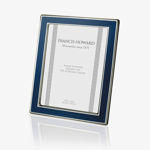 solid sterling silver photo frame with blue enamel around edge various sizes available