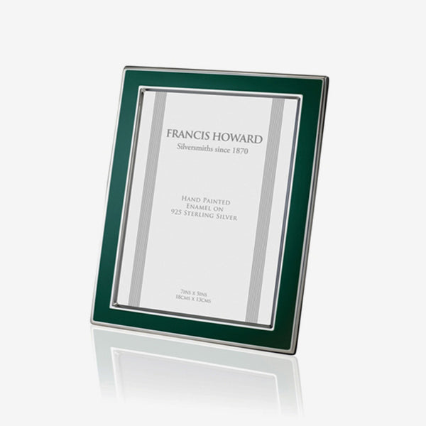 silver photo frame with green enamel edge and a wooden back english made by francis howard