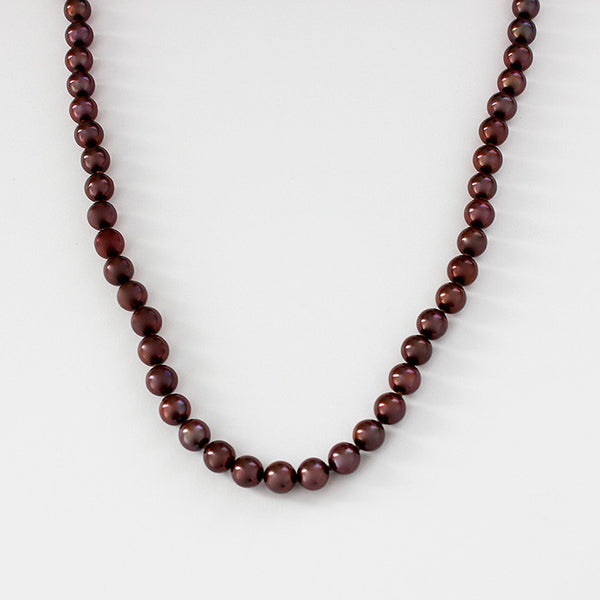 chocolate brown pearl necklace with 18ct gold clasp