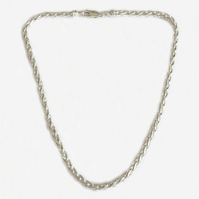 a heavy sterling silver modern twisted link necklace