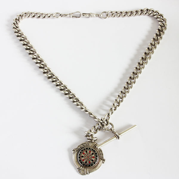 an excellent silver secondhand Albert chain with fob with a dart board and t bar Marston Barrett lewes