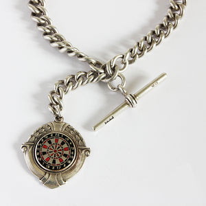 a silver secondhand watch chain with t bar and dart board fob