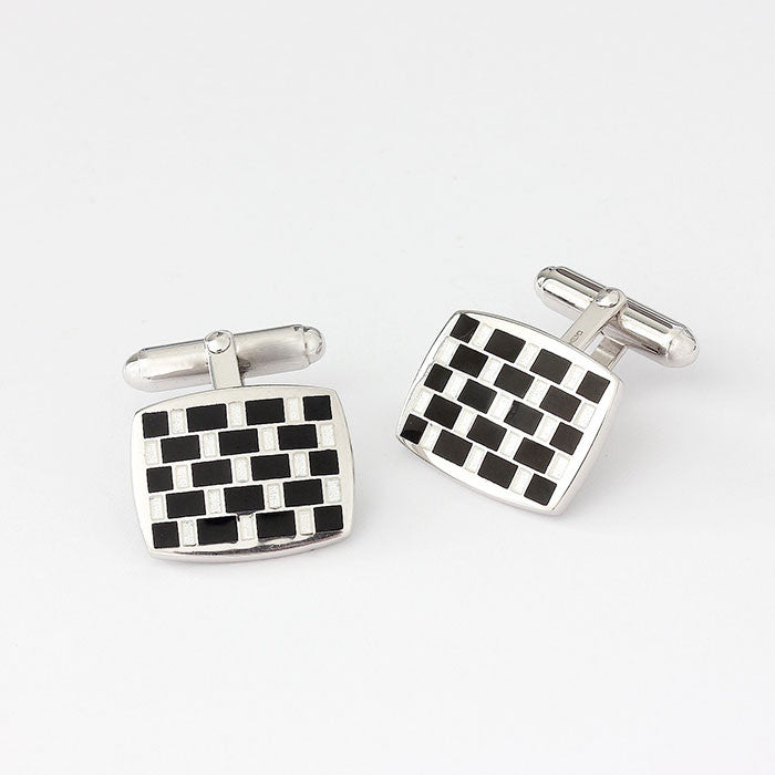 sterling silver checkerboard enamel cufflinks black and white
