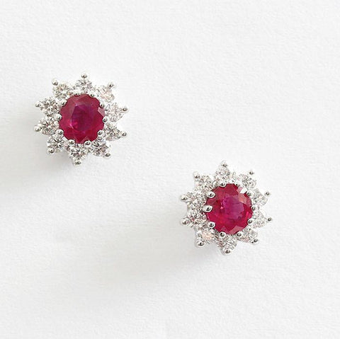 ruby and diamond oval cluster earrings by marston barrett lewes