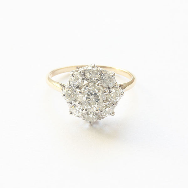 a secondhand diamond ring cluster design claw set gold and platinum