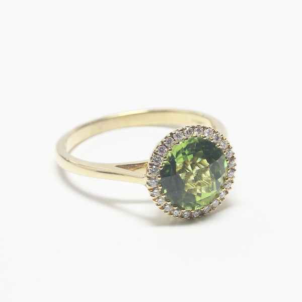 Peridot and Diamond Cluster 18ct Yellow Gold Ring