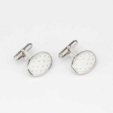 silver cufflinks with white enamel oval bar fittings