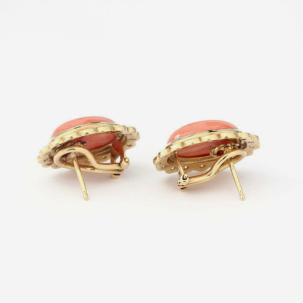 oval coral and diamond large clip on stud earrings in yellow gold