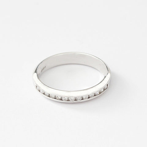 a diamond eternity ring in platinum with a channel setting