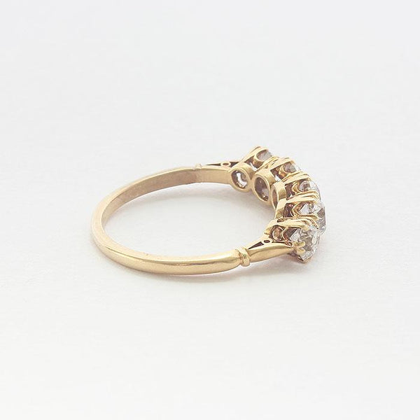 a secondhand five stone diamond ring in yellow gold