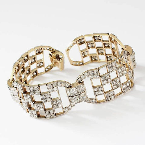 a beautiful diamond set chequerboard design bracelet in yellow gold and platinum total diamond weight 15 carat total with original french box