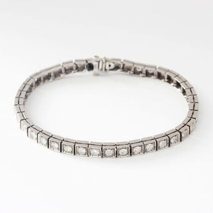 vintage secondhand diamond line bracelet with round stones and 14ct white gold setting