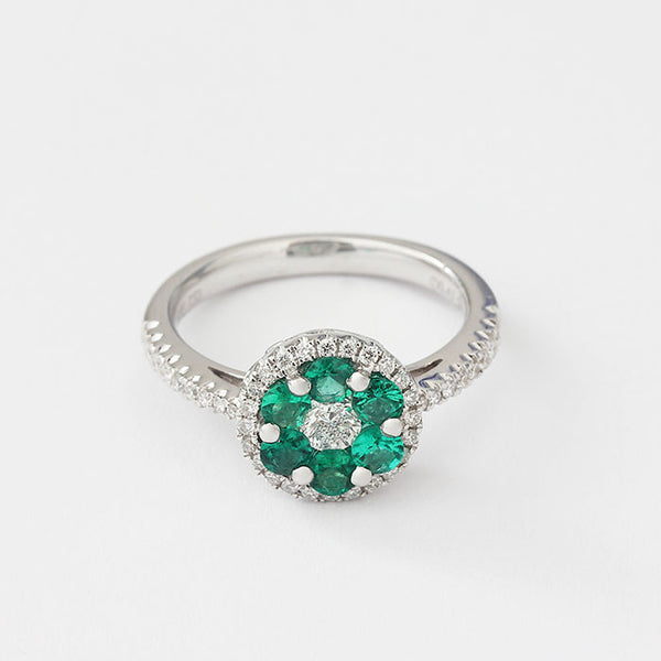 emerald and diamond round cluster design ring 18ct white gold