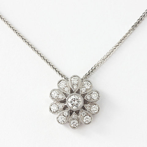 a white gold diamond cluster flower pendant with grain setting and foxtail necklace 40cm long