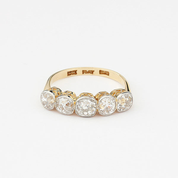 secondhand diamond ring in yellow gold old cut stones