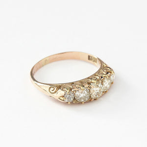a secondhand 15ct gold diamond 5 stone ring with graduated old cut diamond stones