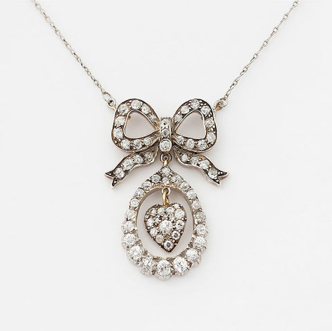 diamond heart and bow victorian necklace fine chain