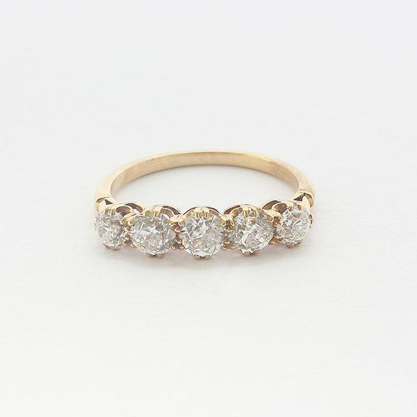 a secondhand yellow gold five stone diamond set brilliant cut ring