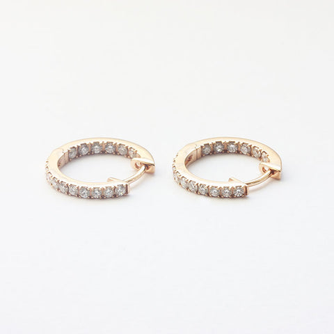 18 carat rose gold small round hoop earrings with round diamonds in and out