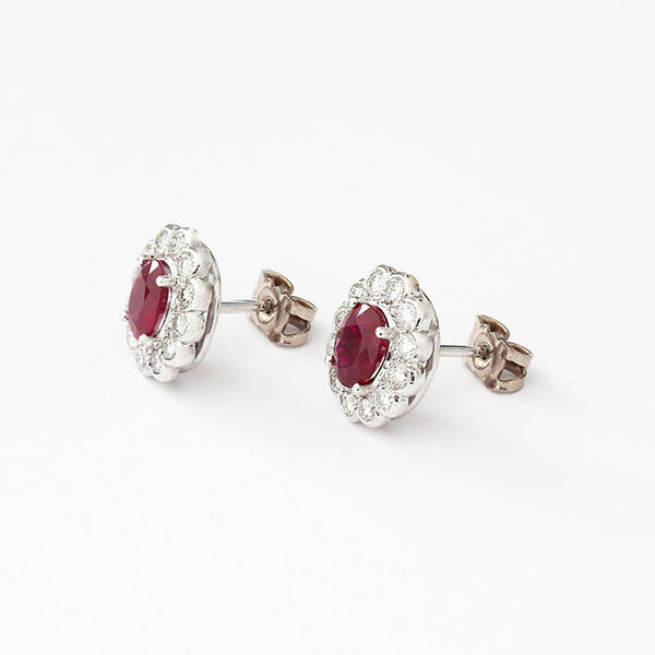 ruby and diamond cluster stud earrings at marston barrett lewes