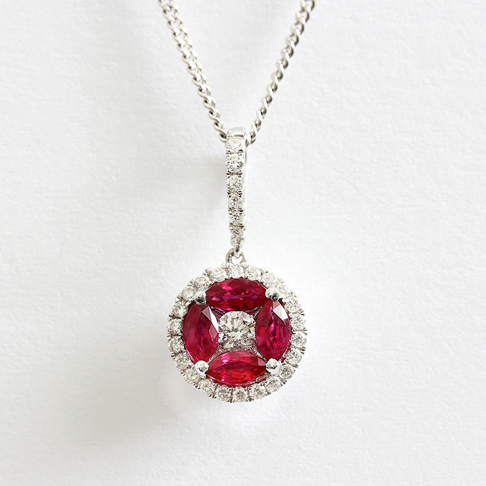 ruby and diamond pendant necklace modern 18ct gold