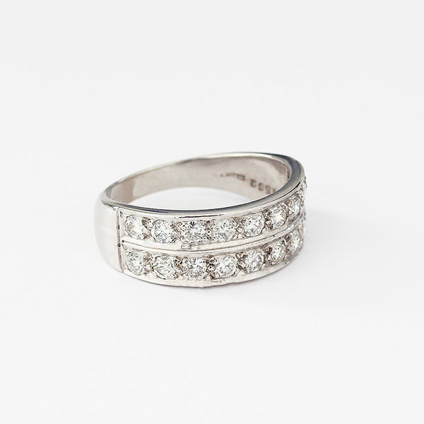 diamond set 2 row channel set ring in white gold modern