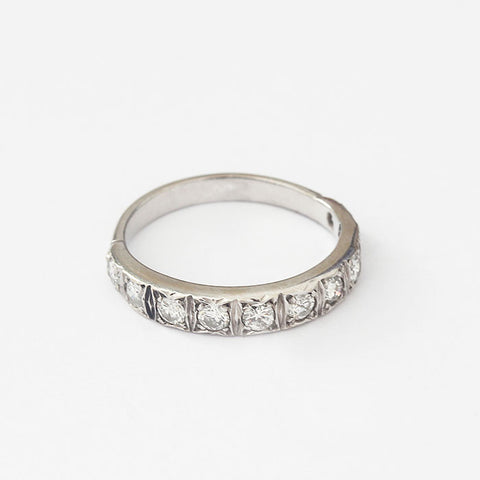 a three quarter diamond eternity ring in platinum with 10 round diamonds