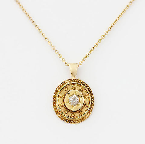 diamond victorian necklace yellow gold with star setting ornate