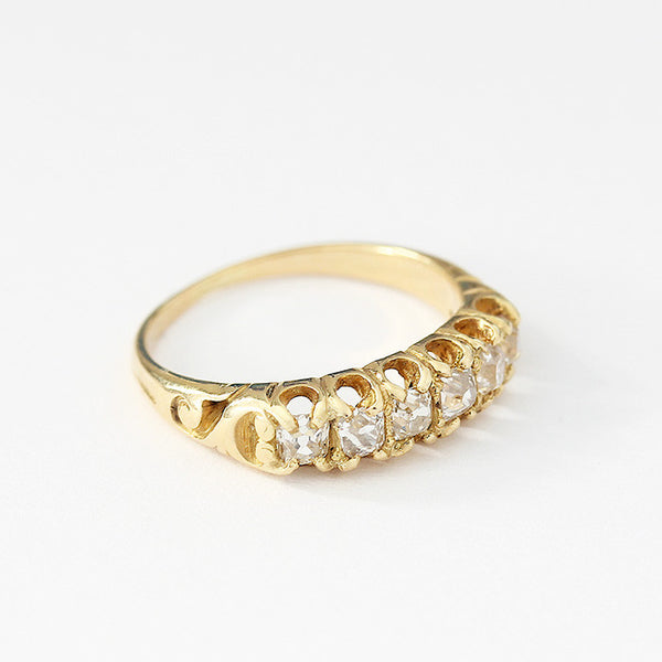 antique diamond set 6 stone ring circa 1880 yellow gold carved shoulders