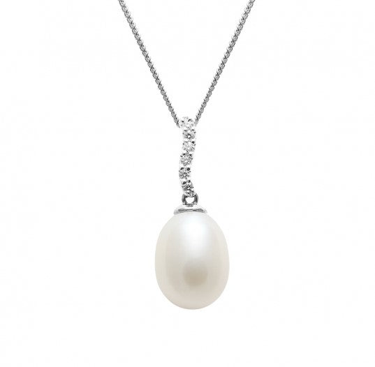 pearl and diamond drop pendant necklace in white gold