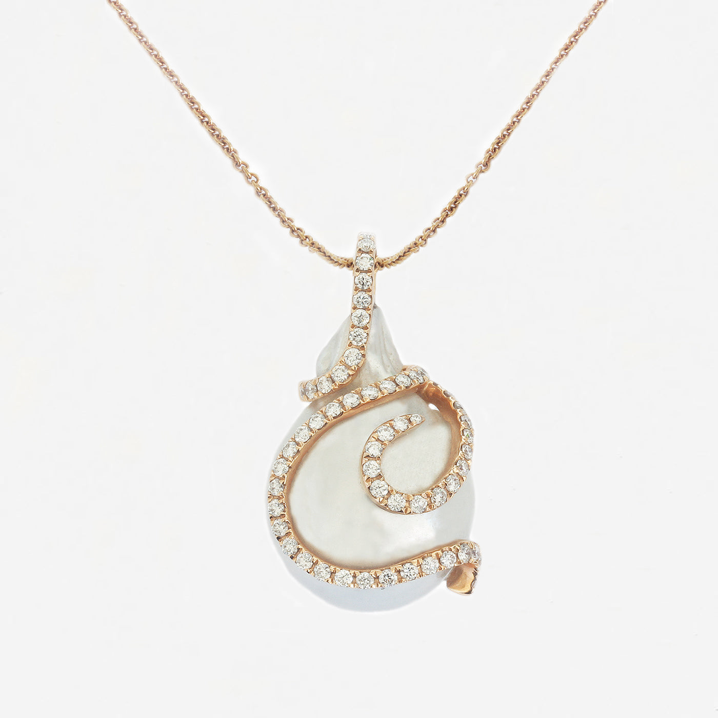 a beautiful south sea pearl and diamond drop pendant necklace in rose gold