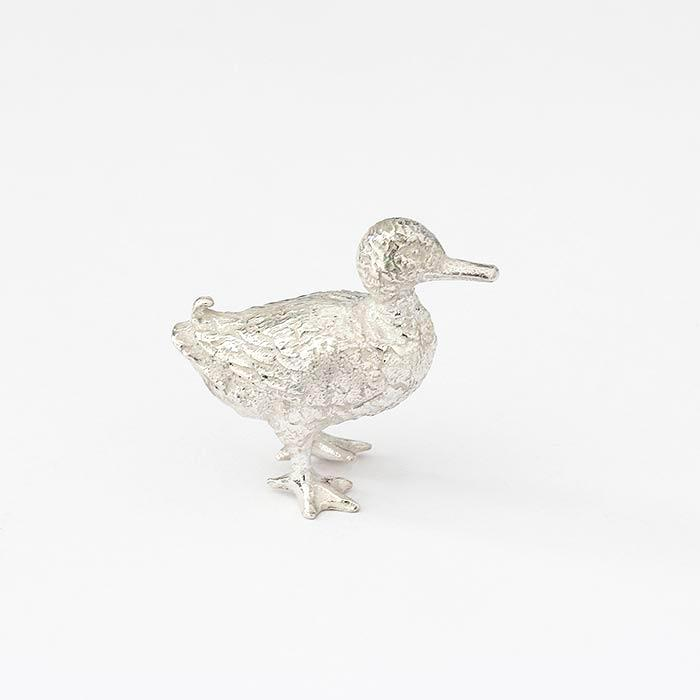 solid silver british made small walking duck ornament