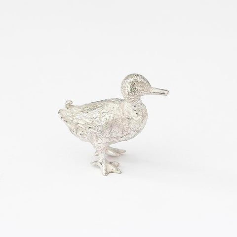 solid silver british made small walking duck figure