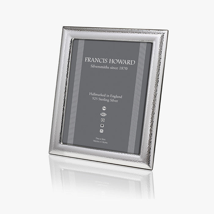 english made sterling silver photo frame with a hammered design and wooden back made in sheffield