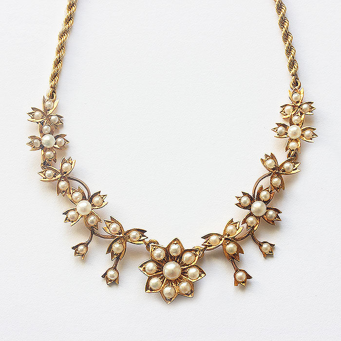 Edwardian Seed Pearl & 15ct Gold Necklace - Secondhand