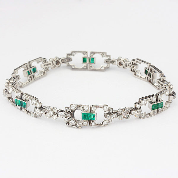 emerald and diamond link bracelet set in platinum art deco style