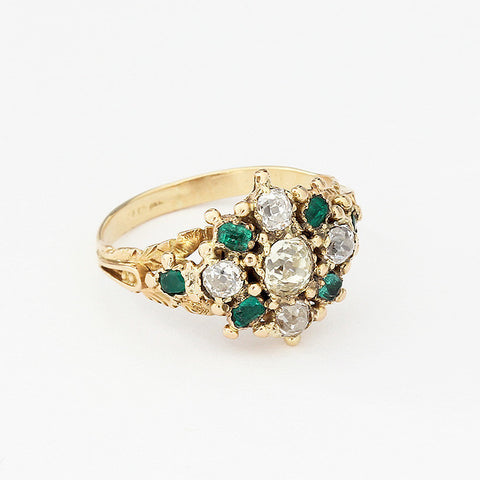 emerald and diamond old cut cluster ring in yellow gold