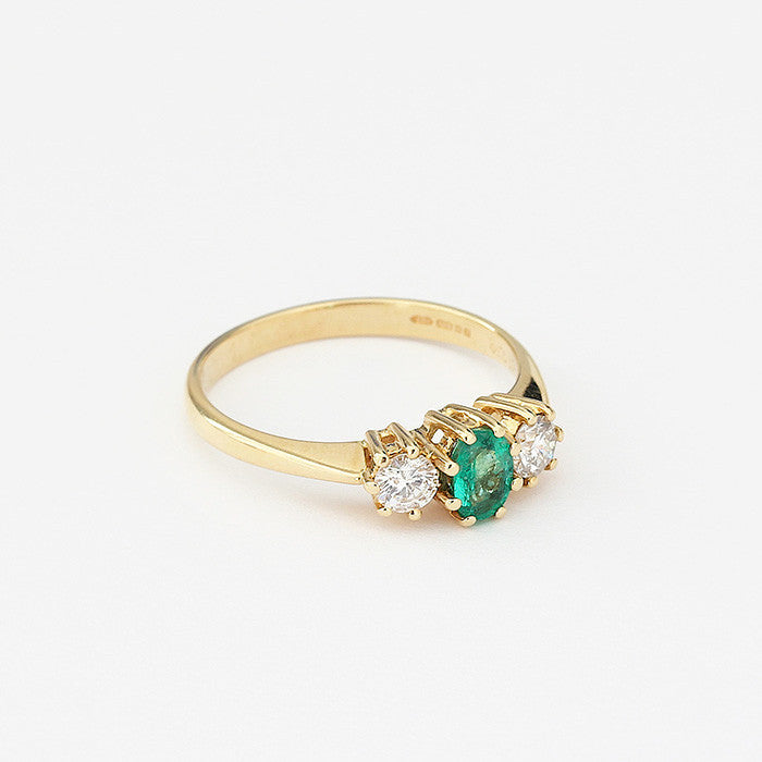 emerald and diamond secondhand ring three stone in yellow gold