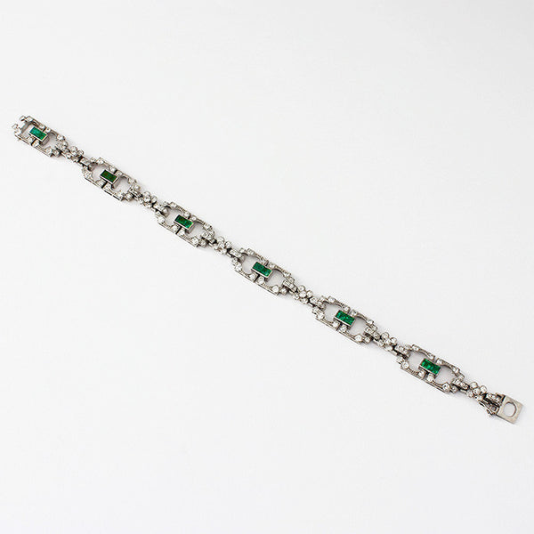 emerald and diamond set link bracelet in platinum with box clasp and french hallmark