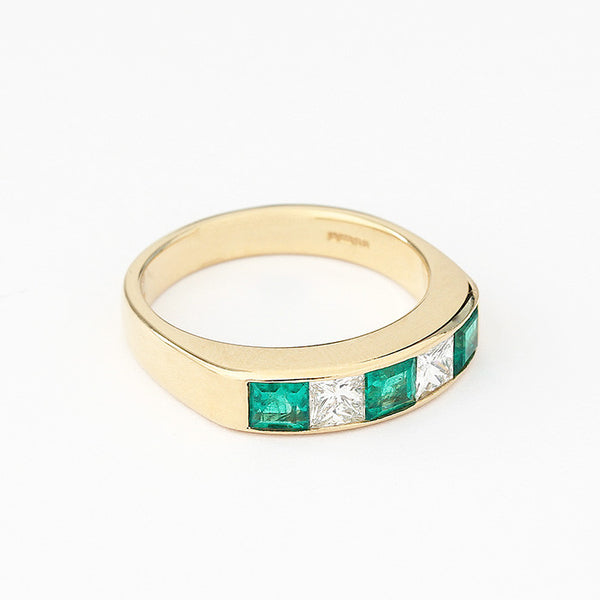 square emeralds and princess cut diamond 5 stone eternity ring in yellow gold
