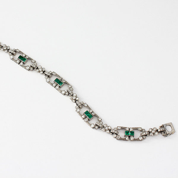 Emerald And Diamond Bracelet In All Platinum - Secondhand
