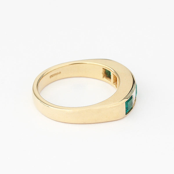 yellow gold emerald and diamond eternity ring square stones