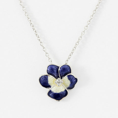 enamel pansy pendant in silver with silver chain and small diamond