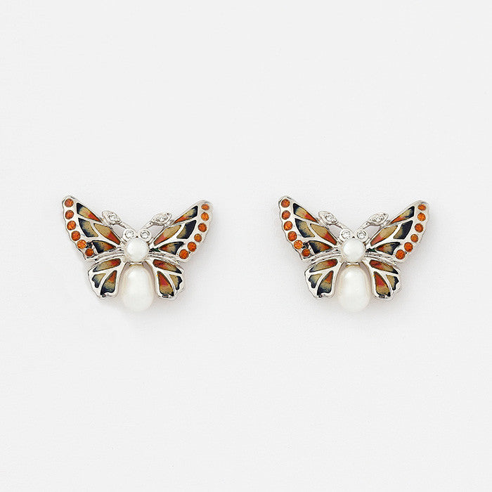 nicole barr butterfly stud earrings with enamel diamonds and pearls with orange colours