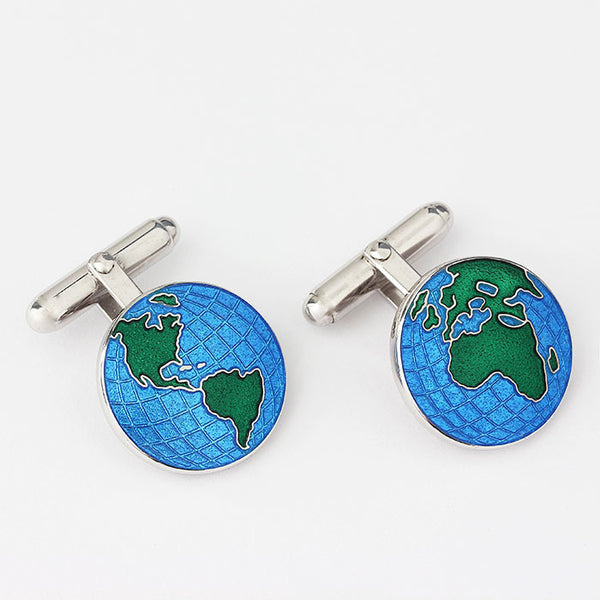 solid silver modern cufflinks with globe theme and enamel